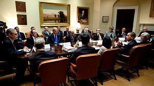 President Barack Obama meeting with healthcare...