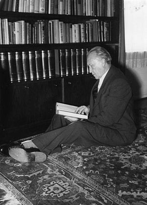 Adenauer in 1951, reading in his house in Rhön...