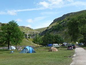 English: Gordale Scar Camp Site near Gordale S...