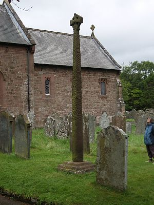 English: Gosforth Cross outside St. Mary's chu...