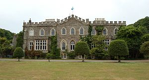 Photograph of the east-facing aspect of Hartland Abbey in Devon