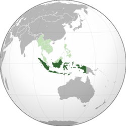 Location of Indonesia (dark green) in ASEAN (light green) and Asia.