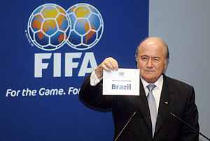Joseph Blatter announcing 2014 World Cup will ...