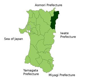 Location Map of Kazuno in Akita Prefecture, Japan