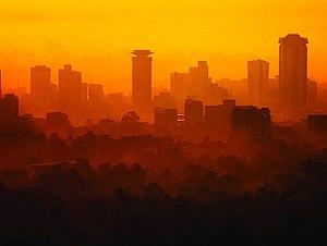Nairobi skyline.