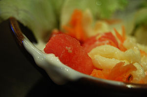 Salad is any of a wide variety of dishes inclu...