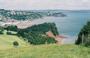 Estuary of Teignmouth seen from above Shaldon ...