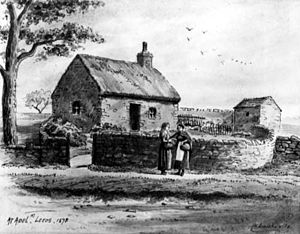 English: Drawing of a cottage in Adel in 1878 ...