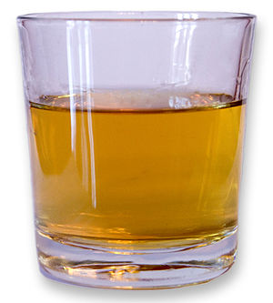 A glass of whisky.