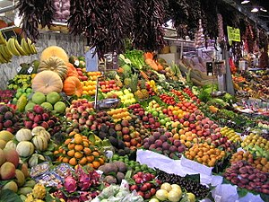 Fruit on display at La Boqueria market in Barc...