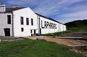 English: Laphroaig Distillery The huge letters...