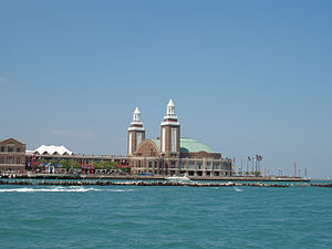 Navy Pier as seen from the convergence of the ...