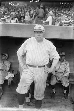 English: American baseball player Babe Ruth in...