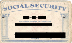 Scanned image of author's US Social Security card.