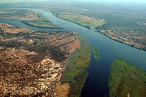 Close-up aerial photo of Zambezi River at the ...