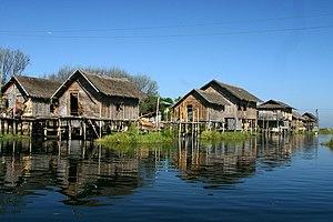 Stilt houses at Lake Inle, Myanmar.