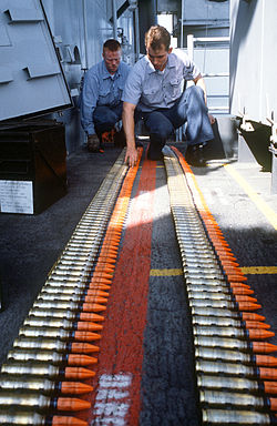 1987 photo of Mark 149 Mod 2 20mm depleted uranium ammunition for the Phalanx CIWS aboard USS Missouri (BB-63).