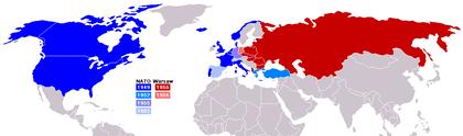 NATO und Warschauer Pakt im Kalten Krieg. Großmächte benötigen einander um sich zu legitimieren. (Bildquelle: Wikipedia)
