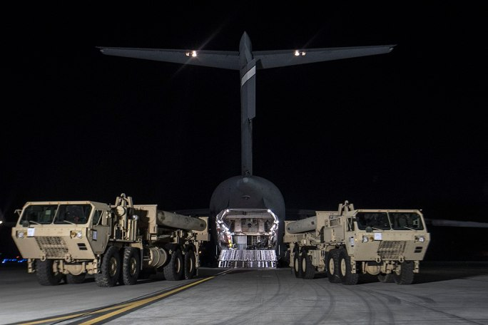 Two THAAD launchers arriving in South Korea in March 2017