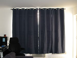 New black curtains shading for the sun.