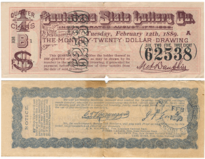 Louisiana State Lottery ticket from 1889. Fron...