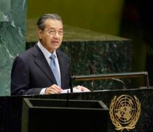 Mahathir addressing the United Nations General Assembly on 25 September 25 2003