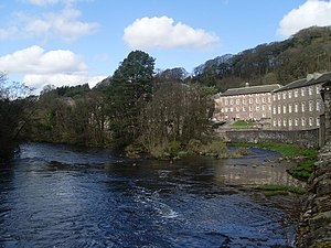 English: New Lanark and the River Clyde The Wo...