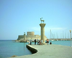 English: Rhodes harbour, Greece.