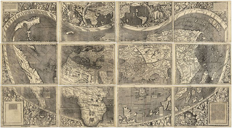 Waldseemuellers 1507 map that named the Americas.  Library of Congress image.  Click on the map for access to a very high resolution image.