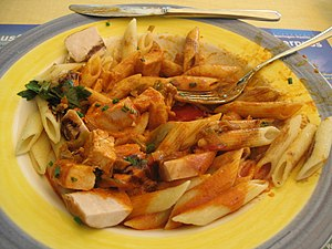 Pasta with chicken at the Restaurant Da Ernest...