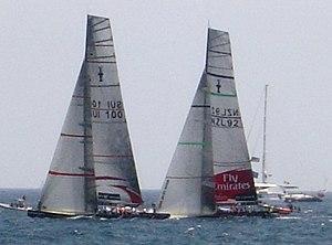 Alingi (left) and Emirates Team New Zealand (r...