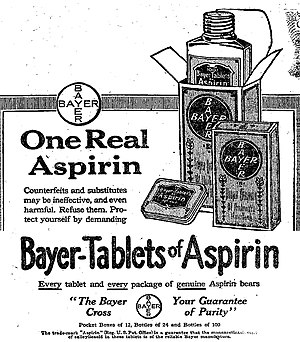 One of the first advertisements for Bayer Aspi...