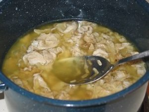 Chitlins in broth.