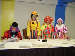 English: Clowns at Clown School