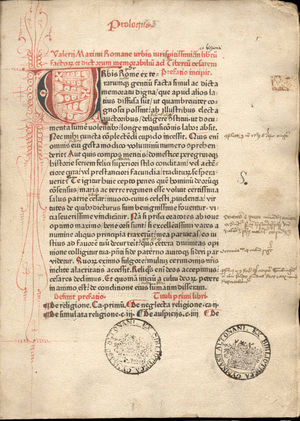 Page from an incunable of Valerius Maximus, Fa...