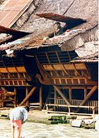 Traditional house in Nias; its post, beam and lintel construction with flexible nail-less joints, and non-load bearing walls are typical of rumah adat