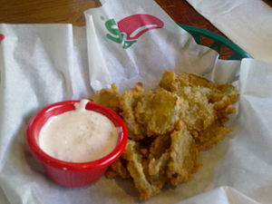 English: Fried pickles, an american dish in Li...
