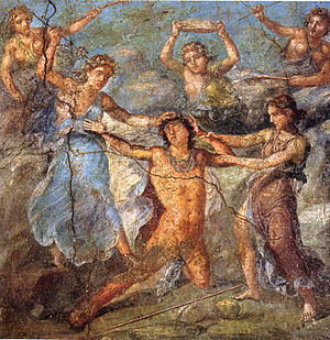 English: Pentheus being torn by maenads. Roman...