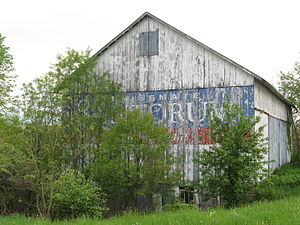Barn painted with Pennsylvania politician Rick...