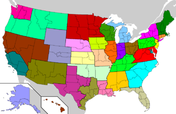 List of Catholic bishops in the United States   Wikipedia United States map showing each of the 32 Latin Church provinces