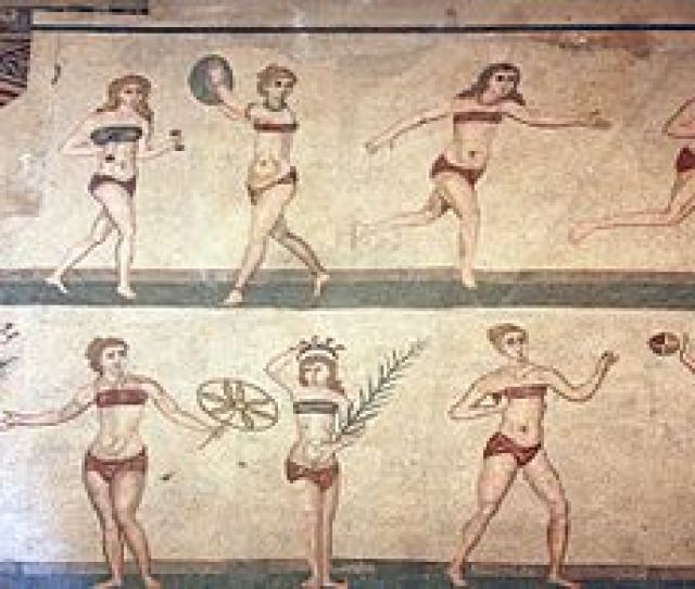 Roman Women Wearing Breast Bands During Sport The Coronation Of The Winner Mosaic A K A The Bikini Mosaic Villa Romana Del Casale Piazza Armerina