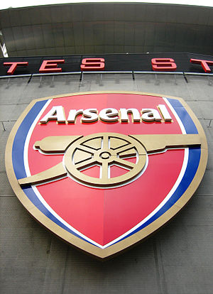 Arsenal logo at the Emirates Stadium