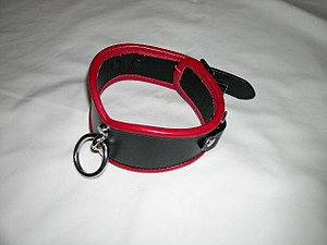 A typical slave collar with ring for possible ...