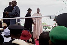 Incoming and outgoing Nigerian Presidents at the inauguration ceremony