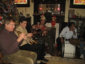 Jazz band playing at New Years Day party, New ...