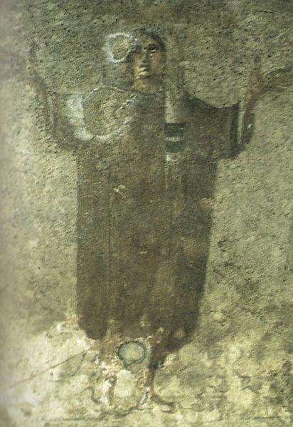 Orantka - fragment malowidła z trzykrotnym przedstawieniem kobiety z cubiculum Velatio, katakumby Pryscylli, ok. 280