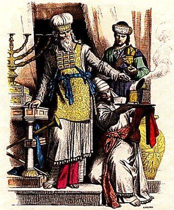 Jewish high priest wearing a hoshen, and Levit...