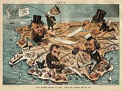קריקטורה מ-1885, המונופוליסטים מחלקים בניהם את הארץ, ויקיפדיה