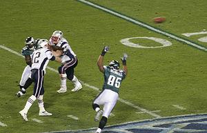 Tom Brady throws the ball during Super Bowl XX...