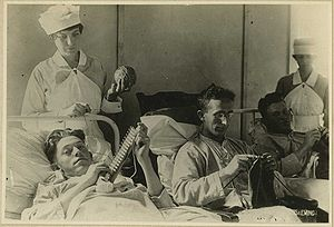 Occupational therapy. Bed-ridden wounded, knit...